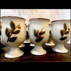 Vintage Otagiri Stoneware set of 8 goblets Japan
